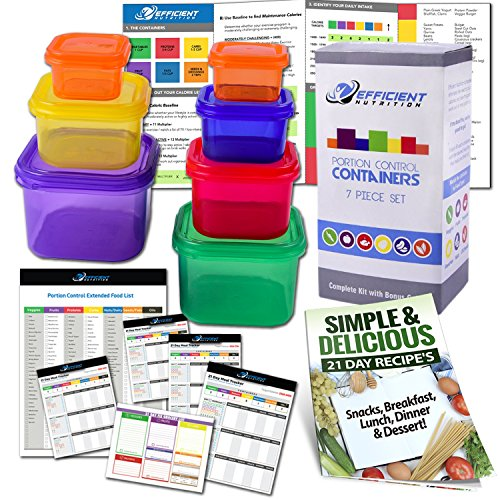 Efficient Nutrition Portion Control Containers Kit 7Piece  COMPLETE GUIDE  21 DAY PLANNER  RECIPE eBOOK BPA FREE Meal Prep System for Diet and Weight Loss Similar to 21 Day Fix Containers