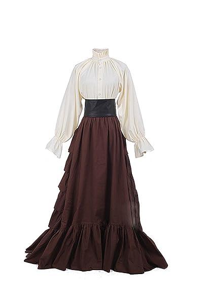 lancoszp Vestidos de Lolita Medievales Goticos Retro Victoriano Falda Plisada Larga + Blusa: Amazon.es: Ropa y accesorios