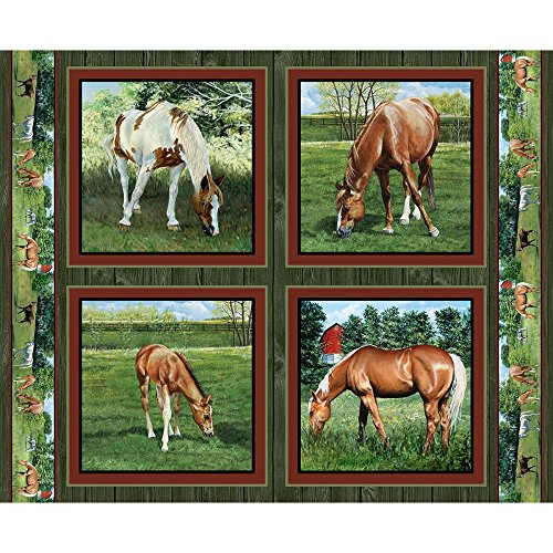 Horse Pillow Panel Valley Crest Fabric by the Yard