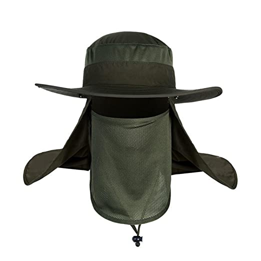 95c5b7bb5ff Letdown Men   Women Outdoor Sun Hat Fishing Hiking Hat with Face Neck Flap  Protection Cover