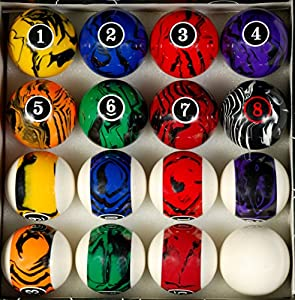 Pool Table Billiard Ball Set, Dark Color Marble Swirl