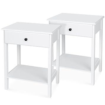 Homfa Lot De 2 Table De Chevet Blanche Avec Tiroir Table De Nuit Bois Table Nuit Blanche 46 35 60cm