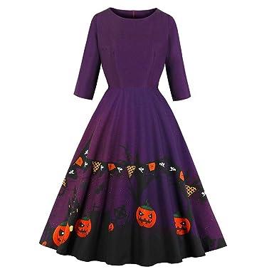 CLOOM Falda Plisada para Mujer Elegante Retro Vestido de Halloween ...