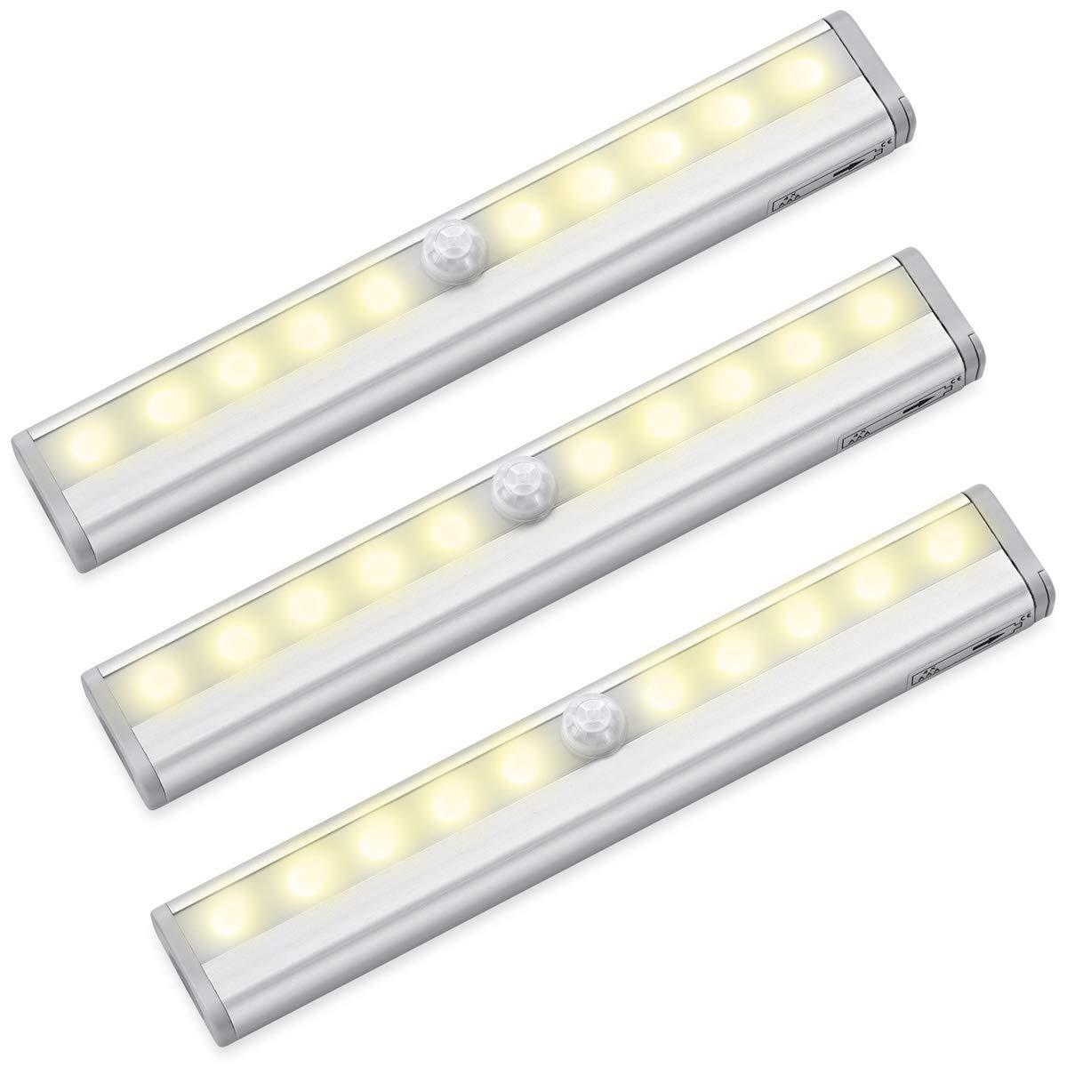 Color Blanco Puro 10 LED, 3 Unidades de la Marca Criacr AMIR Barra de luz con Sensor de Movimiento