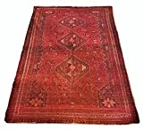 Vintage Large Persian Qashqa'i Carpet 100% Wool Rug