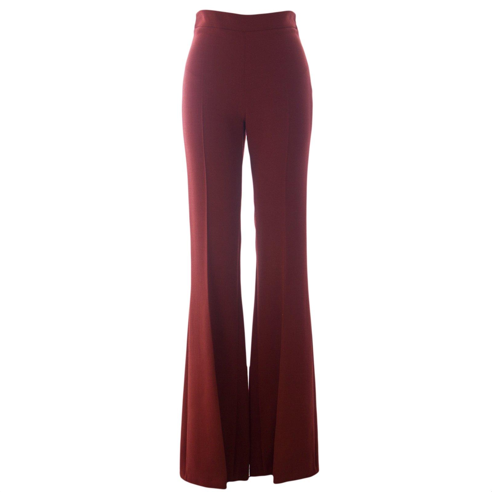 Atelier Max Mara Women's Dilly Wide Leg Trousers Sz 2 Rust