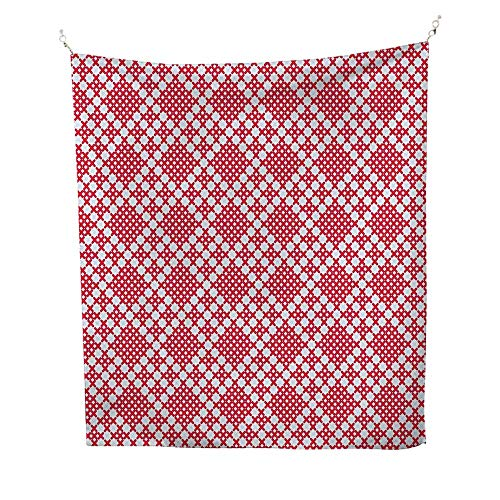 Ethnicfunny tapestryTraditional Russian Slavic Stitch Pattern Embroidery in Graphic Needlework Design 60W x 80L inch Quote tapestryRed White