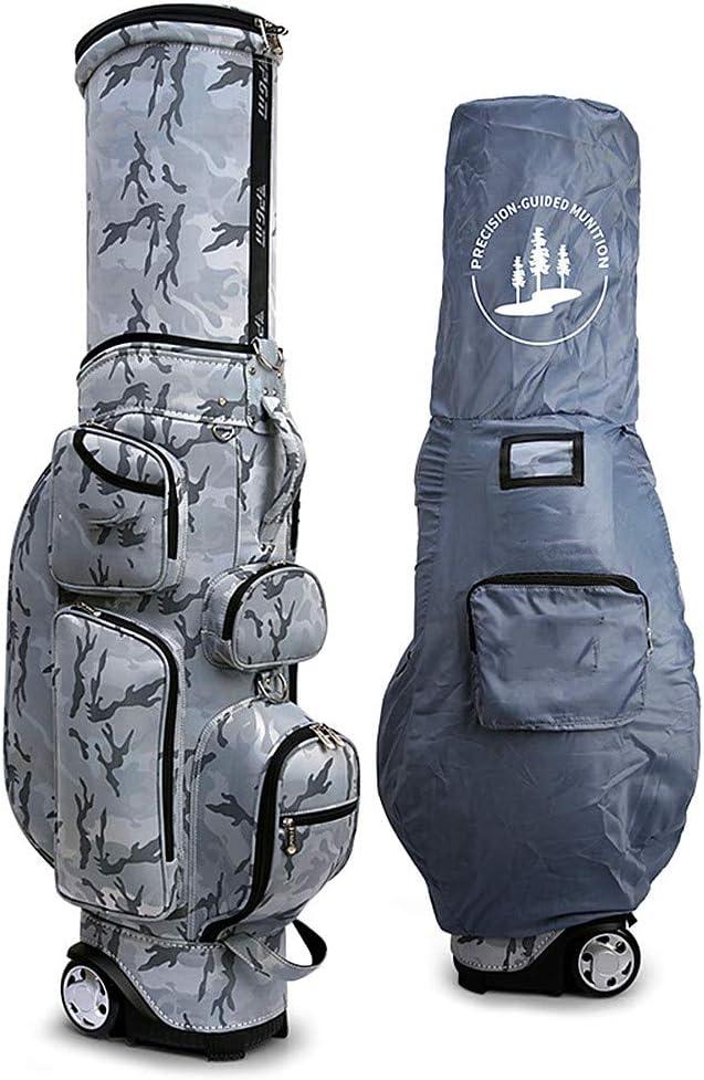 ゴルフエアバッグ、多機能、伸縮自在のボールキャップ、220.46耐荷重、レインカバー付き、6プランジャーポート、カートゴルフバッグ Gray