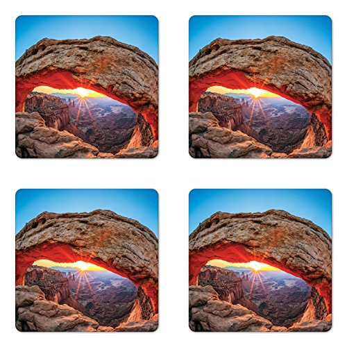 Ambesonne USA Coaster Set of Four, Famous Sunrise at Mesa Arch in Canyonlands National Park, Utah, USA, Square Hardboard Gloss Coasters for Drinks, Sky Blue Amber Light ()