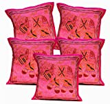 5Pcs-100Pcs Amazing India Applique Jari Embroidered Work Pink Handmade Cushion Covers Wholesale Lot