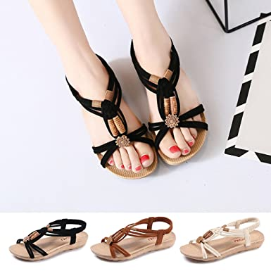 4fd12c1cce6cee Amazon.com  FUNOC Womens Ladies Summer Thong Sandals Flats Toe Post Flip  Flops Casual Boho Shoes  Clothing