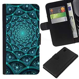 LECELL--Cuero de la tarjeta la carpeta del tirón Smartphone Slots Protección Holder For Sony Xperia Z1 L39 -- Modelo azul Sci FI --
