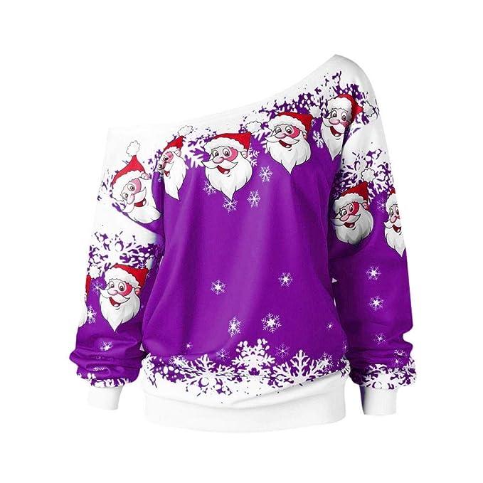 ¡Gran promoción!☆Rovinci☆ Mujer Manga Larga Originales para Navidad Personalidad Fuera del Hombro Santa Claus Impresión Cuello Redondo Moda Casual Tops ...