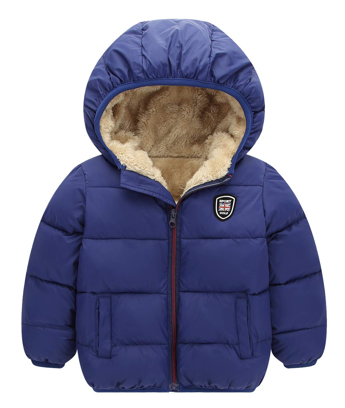 Happy Cherry Boys Blue Winter Hooded Bubble Coat Warm Down Jacket Thick Outerwear 6 to 7 Years Old by Happy Cherry