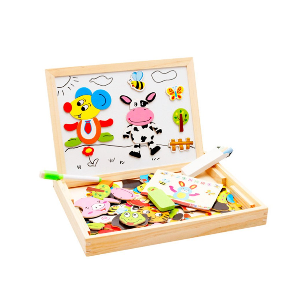 TOYMYTOY Wooden Magnetic Jigsaw Puzzles Toys Double Sided Drawing Easel for Toddler Kids (12 Zodiac)