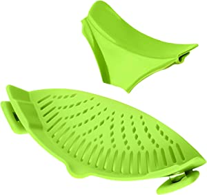 Yisscen Strain Pan Strainer, Pasta Pot Strainer, Clip On Silicone Colander, Slidable bowl pouring mouth100% non-toxic, for Draining Food While Cooking or Pouring Liquid