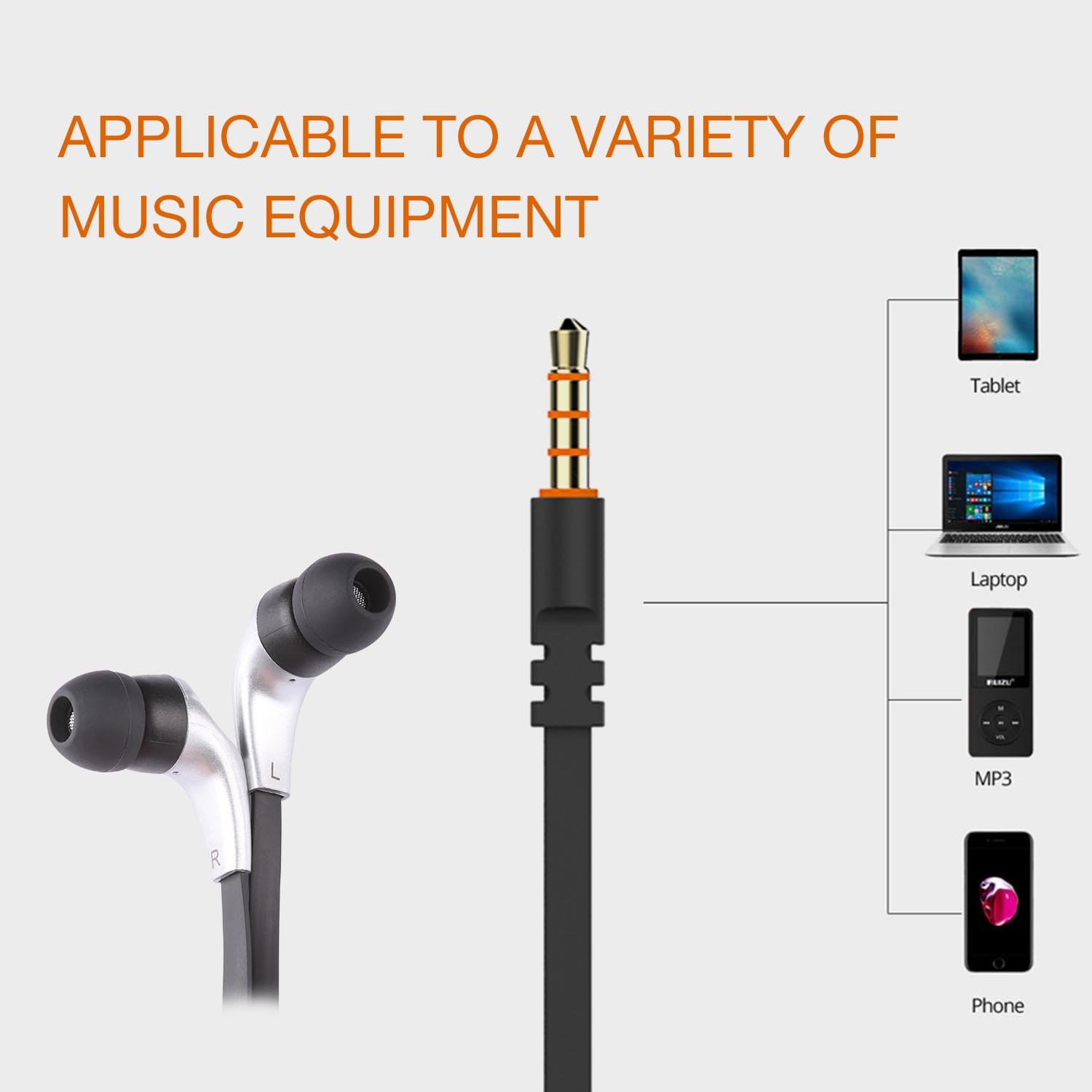 Earphones Fashion, In Ear Earbuds, Noise Isolating Lightweight Wired 3.5MM Headphones with Microphone Control, Stereo Earbuds For Ios and Android,Laptop and MP3/4 Music Players(Black/Silver)