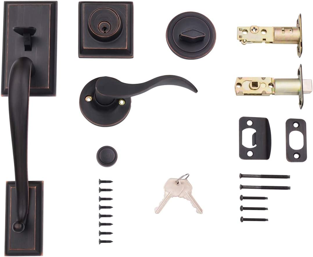 AmazonBasics Modern Door Handle and Deadbolt Lock Set, Left-Hand Wave Door Lever, Oil Rubbed Bronze