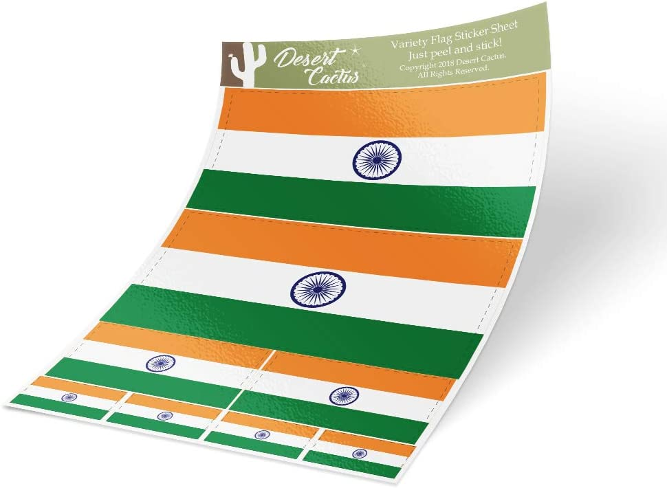 India Country Flag Sticker Decal Variety Size Pack 8 Total Pieces Kids Logo Scrapbook Car Vinyl Window Bumper Laptop V