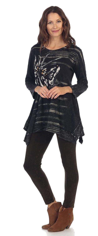 Jess /& Jane Womens Pazzazz Mineral Washed Cotton Tunic