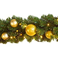 270CM Christmas Garland + 40CM Christmas Wreath Packs Red Ball Decorated Kerris for Xmas Door Window Wall Party Fireplace Decoration