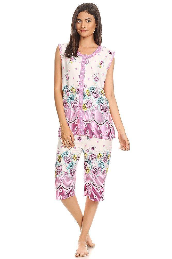 Lati Fashion Womens Capri Set Sleepwear Cotton Pajamas -SleevelesS Nightshirt