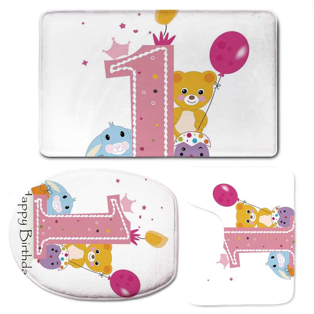YOLIYANA 1st Birthday Decorations Vaurious Comfortable Bathroom 3 Piece Mat Set,Princess Girl Party Cake with Candle Teddy Bear Print for Office,F:20'' W x31 H,O:14'' Wx18 H,U:20'' Wx16 H