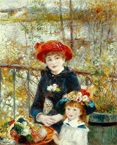 (Two Sisters On The Terrace Pierre Auguste Renoir 1881 26X32 Inch(Ultra Giclee On Canvas, Stretched, Ready To Hang, Made In Canada))