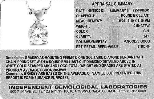 Diamond Studs Forever - Pendentif en or blanc 14 carats + chaîne - diamant 1/2 carat - G-H/I2-I3