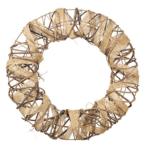 Darice Decorative Rustic Wreath with Burlap and Vine Accents - 16 inches