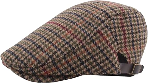 ACVIP Mens Plaid Octagle Linen Newsboy Cap