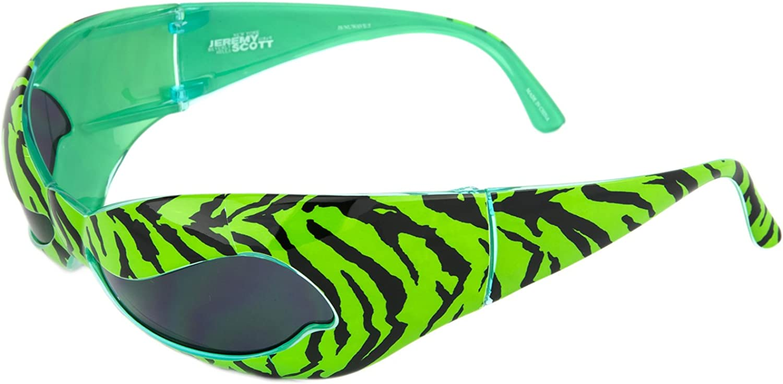 LINDA FARROW Jeremy Scott Superhero Green Zebra Wave Mask NUWAVE Sunglasses