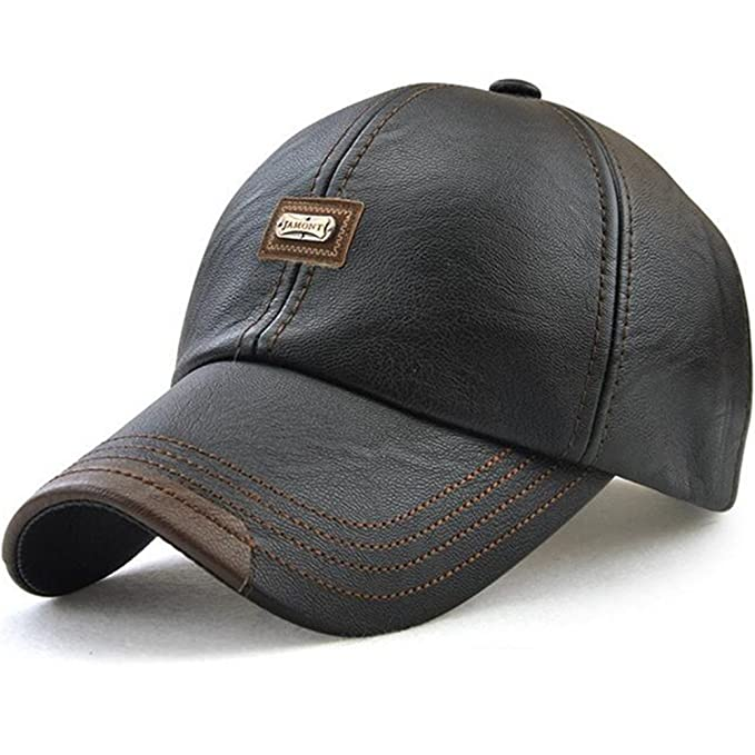 bcbcd77981e GESDY Men s Vintage PU Leather Baseball Cap Windproof Warm Outdoor Sports  Driving Hats