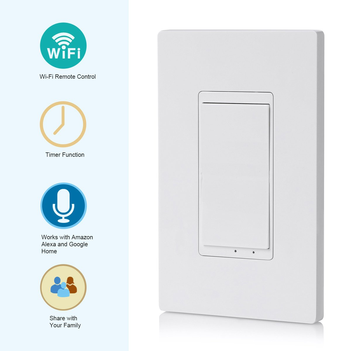 DEWENWILS Smart WiFi Light Switch In-wall, Wireless Remote Control, No Hub Required, Control Your Fixtures from Anywhere, Compatible with Alexa, Google Assistant and IFTTT by DEWENWILS (Image #3)