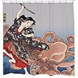 Kraken Shower Curtain with Japanese Octopus Tentacles Waterproof Fabric 12 Hooks Included