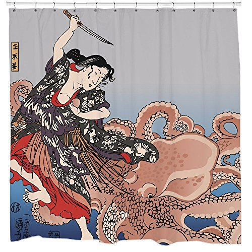 Kraken Shower Curtain with Japanese Octopus Tentacles Waterproof Fabric 12 Hooks - A Kraken