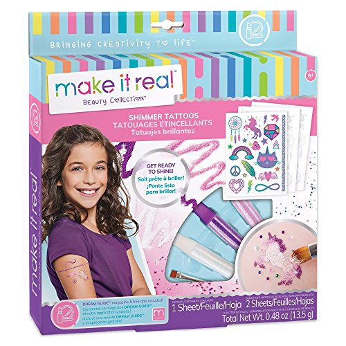 Make It Real - Shimmer Tattoos. Temporary Tattoos for Girls. DIY Temporary Tattoo Kit for Tweens Including Beauty Tape Sheets, Glitter Powders, Glitter Brush, and Gemstones