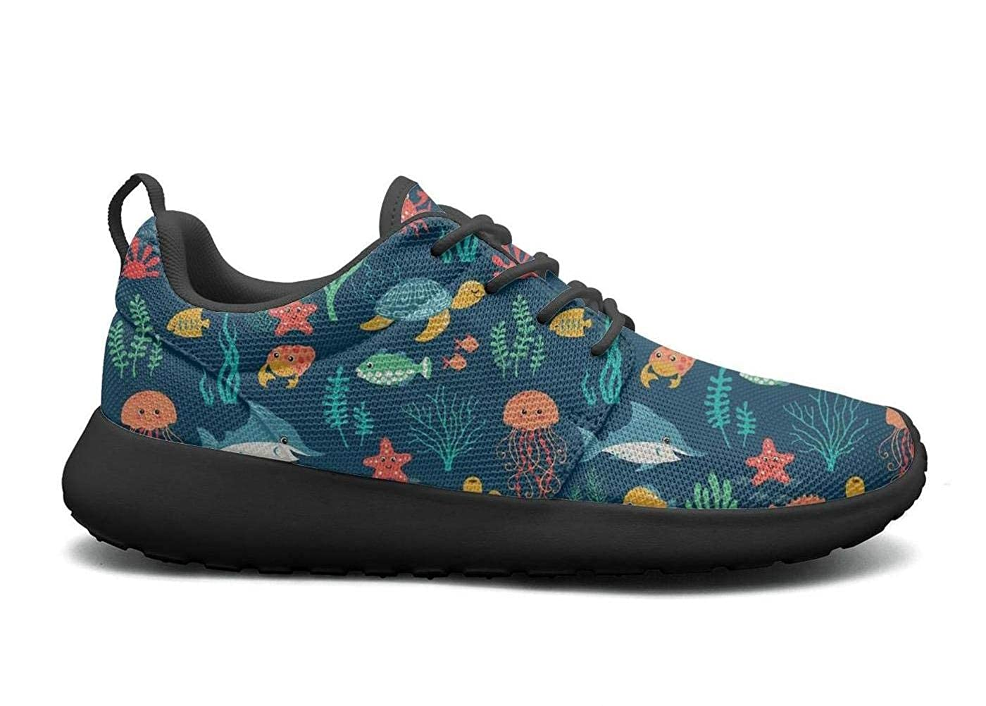 LOKIJM Crab Shrimp Octopus Llobster Sea and Turtle Tennis Shoes for Women Print Skid-Proof Girl Running Shoes