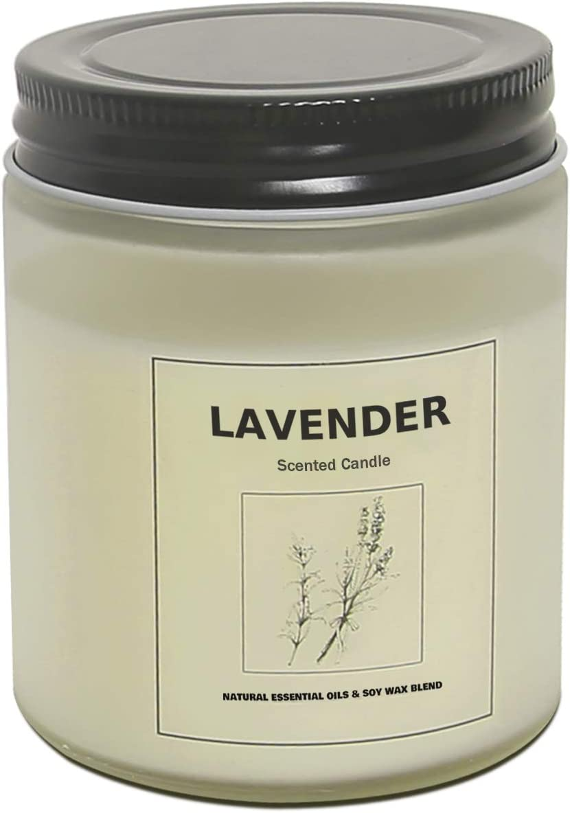 Scented Candles Soy Candle Candles Highly Scented and Long Burning Aromatherapy Jar Candles for Stress Relief and Relaxation with Pure Essential Oil Lavender Portable Travel Gift Box for Home