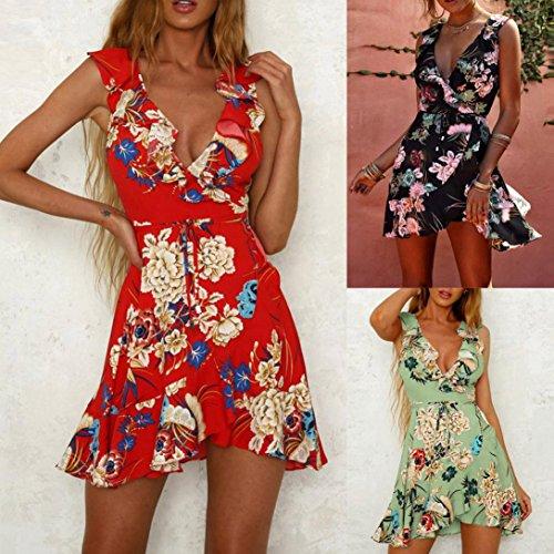 Bsgsh Envelopper Mini-robes Sexy Pour Les Femmes Sunsresses Volants Sans Manches Cou V Profond Pour Le Rouge Beach Party