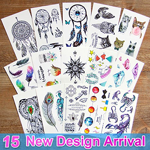 Leoars 15 Sheets Waterproof Temporary Tattoo Paper 3d Body Tattoos Sticker Dreamcatcher, Diamond, Animal, Fake Tattoos for Men Women