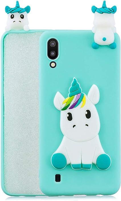 HopMore Panda Licorne Coque Samsung Galaxy A10 Silicone Souple Motif Drôle 3D, Coque Samsung A10 Etui Antichoc Mince Housse Protection pour Fille ...