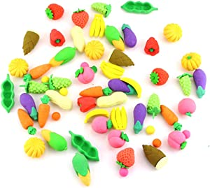 DLOnline 60Pcs Fruit Pencil Erasers Bulk, Assorted Food Puzzle Erasers, Vegetables Erasers, Mini Vegetable Pencil Erasers for Party Favors, Class Rewards