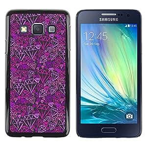 LECELL--Funda protectora / Cubierta / Piel For Samsung Galaxy A3 SM-A300 -- Purple Pink Bling Pattern --