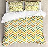 Chevron 4 Piece Bedding Set Twin Size, Retro Countryside Colors Zigzags in Vertical Direction Striped Composition, Duvet Cover Set Quilt Bedspread for Childrens/Kids/Teens/Adults, Green Yellow Orange