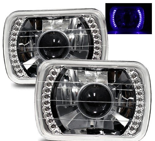 (1979-1986 Chevy C10 20 C1500 Suburban 7X6 H6014/H6052/H6054 Chrome Crystal Square Projector Headlights - Blue LED)