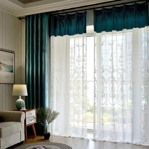 Energti - Ventana Bordada de algodón Bordada con Cortinas Transparentes Blancas para Ventana de Estilo Europeo para salón: Amazon.es: Hogar