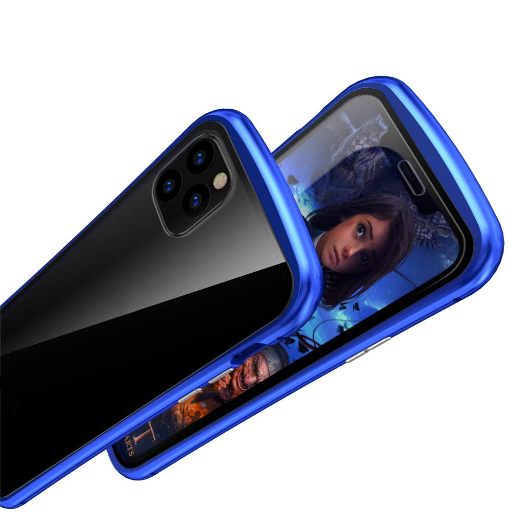 Ultra Slim Magnetic Adsorption Case Compatible with iPhone 11 Pro Black Metal Frame Full Body Heavy Duty Protection Built in Screen Protector Bumper Cover Work for Apple iPhone 11 Pro 5.8inch