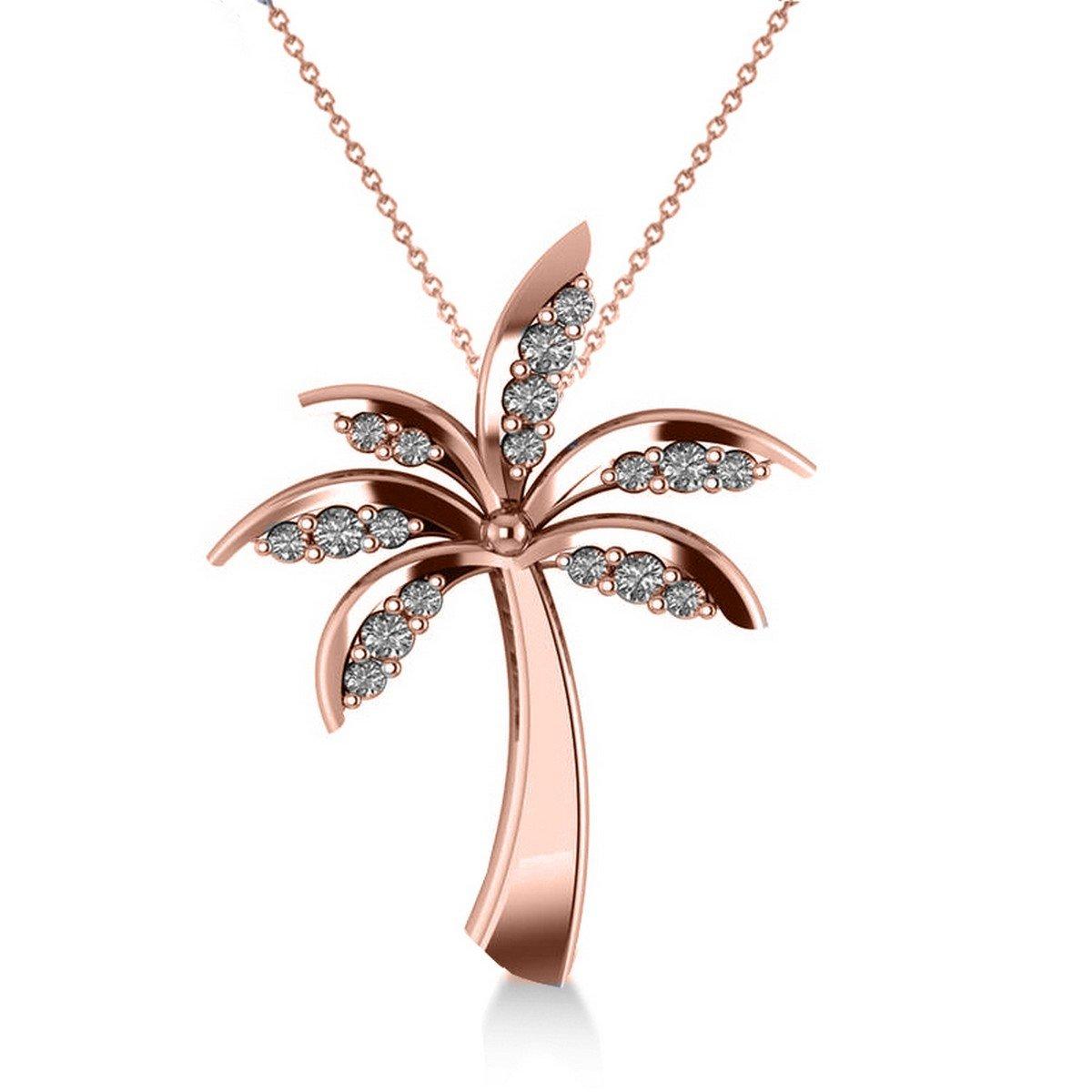 Allurez Diamond Tropical Summer Palm Tree Pendant Necklace in 14k Rose Gold (0.24ct)