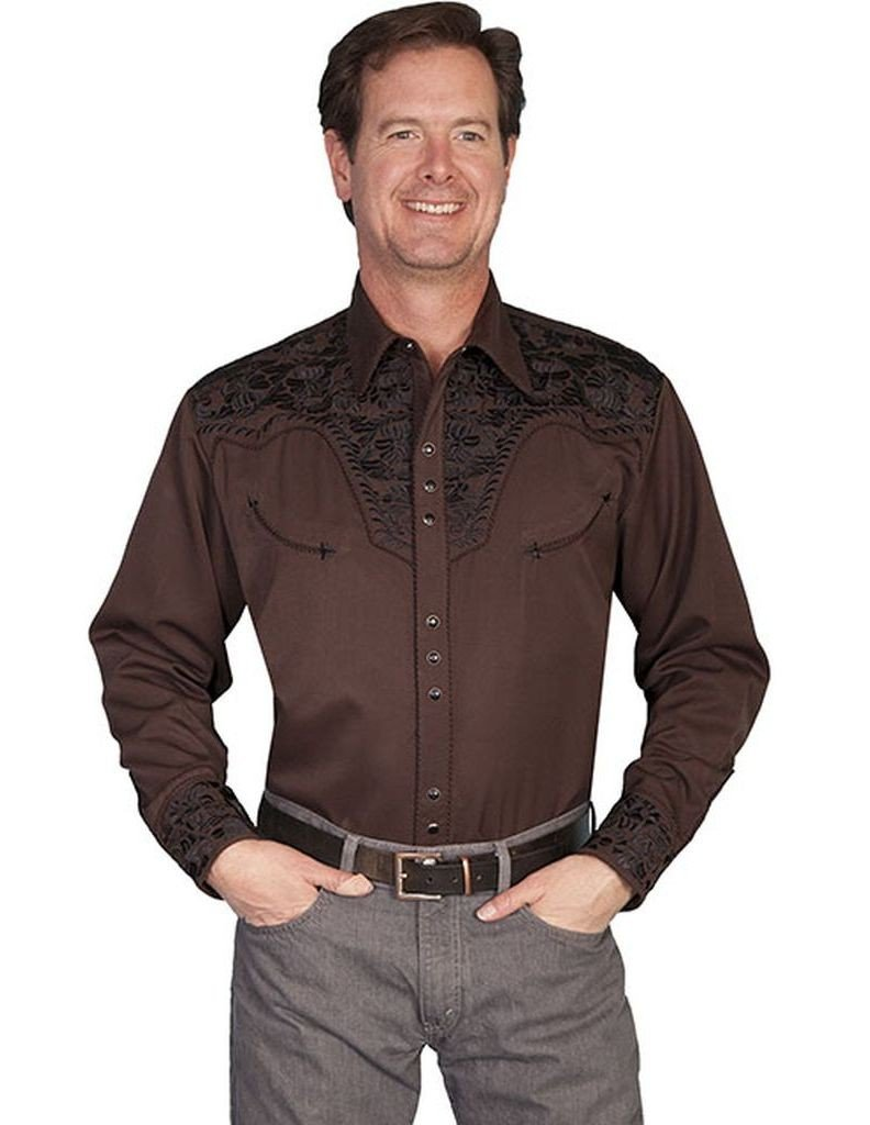 Scully Men's Floral Embroidered Western Shirt Chocolate XX-Large by Scully (Image #1)